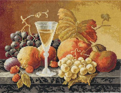"""Вышивка крестом """"Натюрморт с вином и фруктами"""" (320х245 мм) — фото, картинка"""