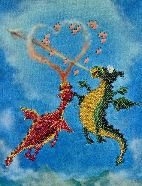 """Вышивка бисером """"Драконы"""" (200х280 мм) — фото, картинка"""
