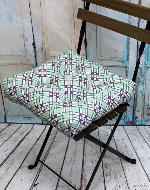 """Подушка на стул """"Printed"""" (40х40 см; мятная) — фото, картинка"""
