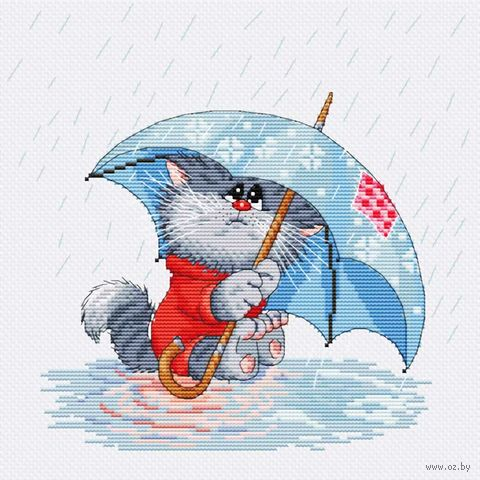 "Вышивка крестом ""Кошарик под дождем"" (230х220 мм) — фото, картинка"