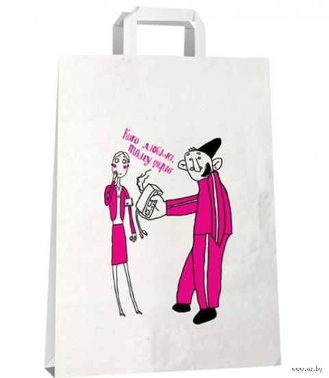 """Пакет бумажный подарочный """"Кого люблю, тому дарю… Гопник"""" (22х33 см)"""