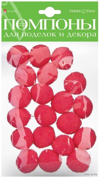 Помпоны пушистые №35 (20 шт.; 25 мм; розовые) — фото, картинка