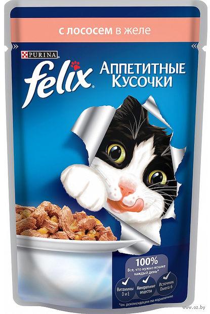 """Пресервы для кошек """"Аппетитные кусочки"""" (85 г; лосось в желе) — фото, картинка"""