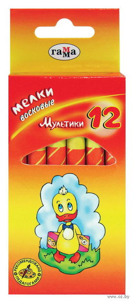 """Мелки восковые """"Мультики"""" (диаметр 8 мм; 12 цветов)"""