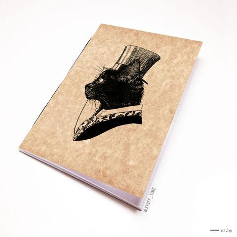 """Блокнот крафт """"Кот джентльмен"""" (А7; арт. 795)"""