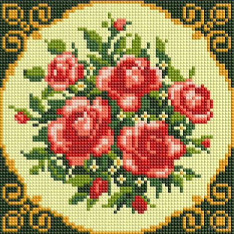 """Алмазная вышивка-мозаика """"Чайные розы"""" (200х200 мм) — фото, картинка"""