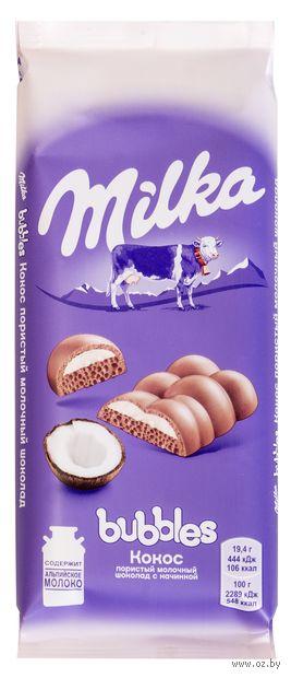 "Шоколад молочный ""Milka. Bubbles. Кокос"" (97 г) — фото, картинка"