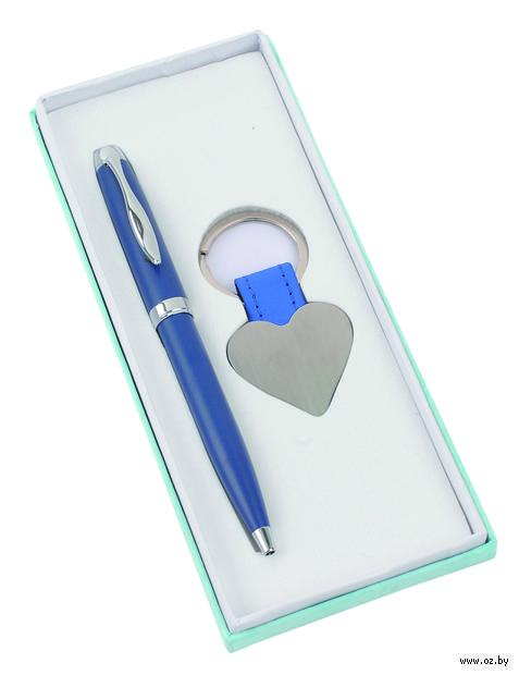 """Набор. Шариковая ручка, брелок """"Сердце"""" (синий)"""