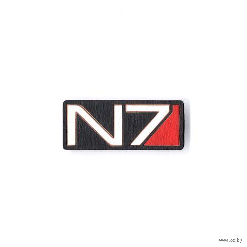 "Значок деревянный ""Mass Effect. N7"" — фото, картинка"