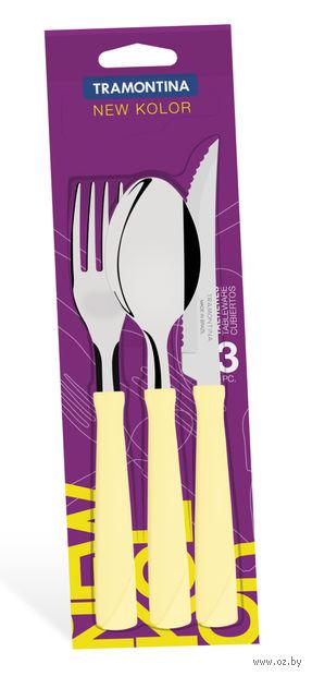Набор столовых приборов металлических с пластмассовыми ручками (3 предмета)