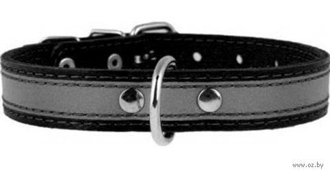 Ошейник из натуральной кожи со светоотражающей лентой (38-50 см; черный) — фото, картинка