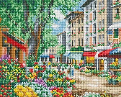 "Алмазная вышивка-мозаика ""Цветочная улица"" (400х500 мм) — фото, картинка"