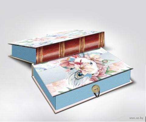 "Подарочная коробка ""Цветы и павлиньи перья"" M (20х14х6 см; арт. 42365) — фото, картинка"