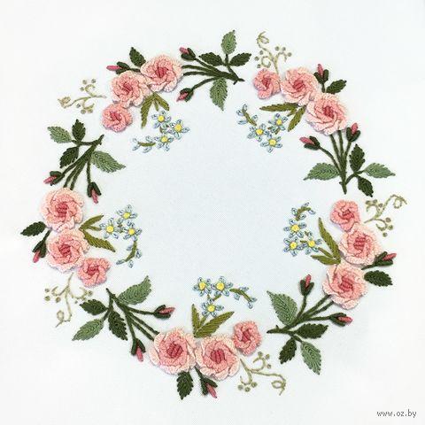 """Вышивка гладью """"Венок из роз"""" (170х170 мм) — фото, картинка"""