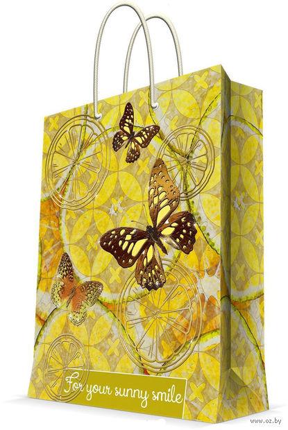 """Пакет бумажный подарочный """"Лимонные бабочки"""" (26х32,4х12,7 см; арт. 44229) — фото, картинка"""
