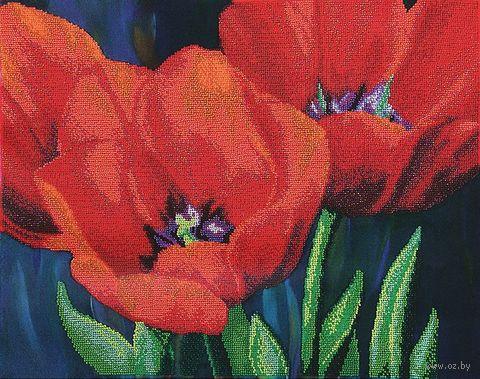 """Вышивка бисером """"Вечерние тюльпаны"""" (440х350 мм) — фото, картинка"""