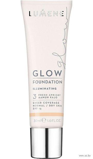 """Тональный крем для лица """"Glow Foundation Illuminating"""" SPF 15 тон: 3, fresh apricot — фото, картинка"""