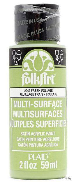"""Краска акриловая """"FolkArt Multi-Surface"""" (свежая зелень, 59 мл; арт. PLD-02942)"""