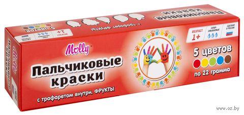 """Краски пальчиковые с трафаретом """"Фрукты"""" (5 цветов)"""