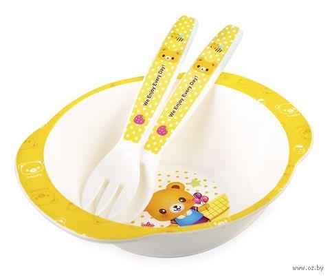 Набор посуды (миска, ложка, вилка) — фото, картинка