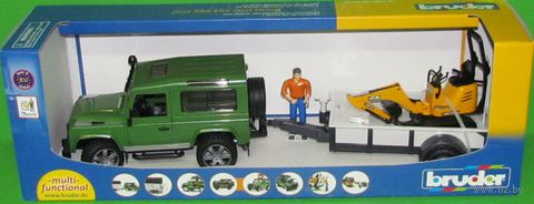 """Модель машины """"Внедорожник Land Rover c прицепом и экскаватором"""" (масштаб: 1/16)"""