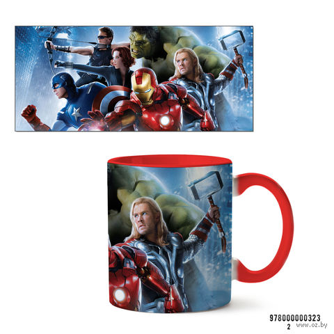 """Кружка """"Мстители из вселенной MARVEL"""" (арт. 323, красная)"""