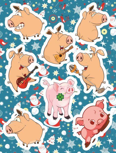 "Набор наклеек ""Весёлый Свин 3"" — фото, картинка"