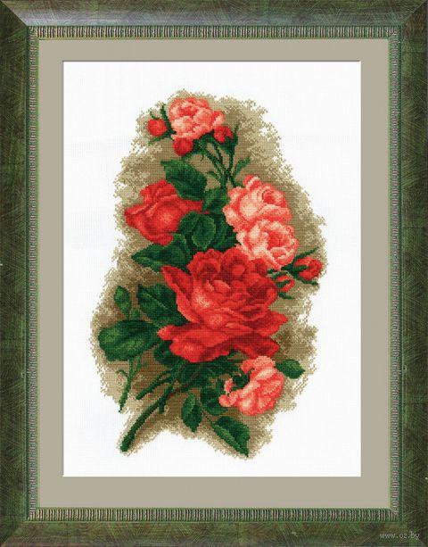 """Вышивка крестом """"Розы красные"""" (480x310 мм) — фото, картинка"""