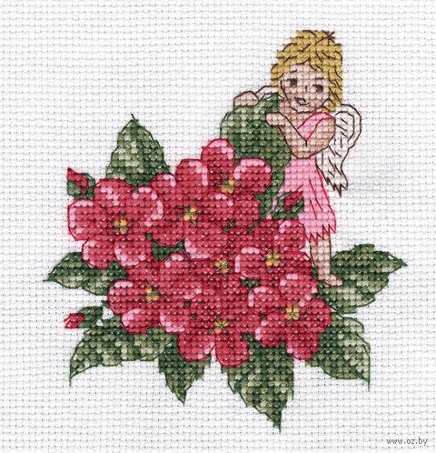 """Вышивка крестом """"Розовый ангел"""" (105x110 мм) — фото, картинка"""