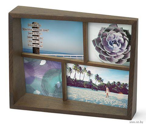 """Рамка деревянная на 4 фото """"Edge"""" (10х10 см, 10х15 см; состаренный орех) — фото, картинка"""