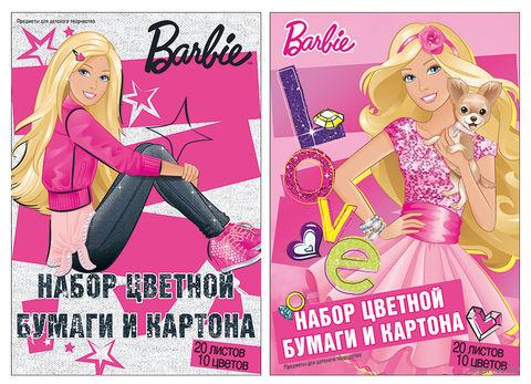 """Набор цветной бумаги и картона """"Barbie"""" (10 цветов; 20 листов)"""
