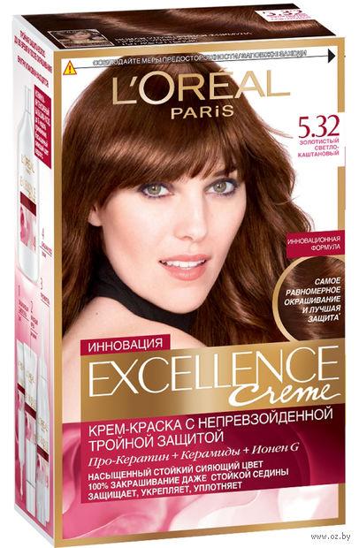 """Крем-краска для волос """"Excellence"""" (тон: 5.32, золотистый светло-каштановый)"""