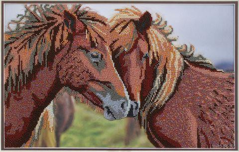 "Вышивка бисером ""Лошадки"" (400х250 мм) — фото, картинка"