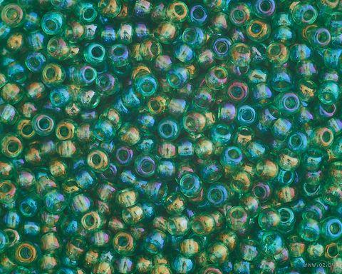 Бисер прозрачный №51100 (зеленый; радужный; 10/0) — фото, картинка