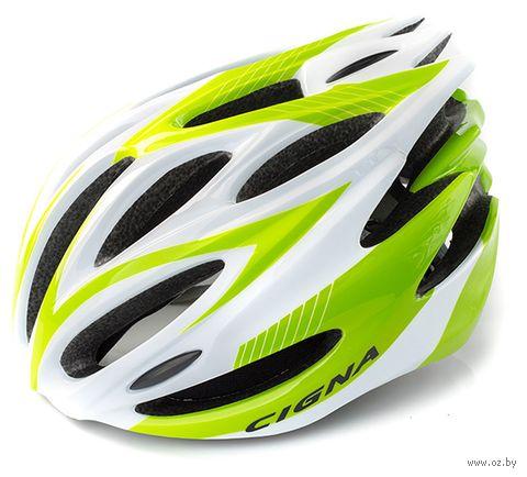 """Шлем велосипедный """"WT-029"""" (серый/зелёный/белый) — фото, картинка"""