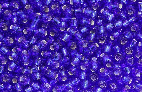 Бисер прозрачный с серебристым центром №37080 (синий; 10/0) — фото, картинка