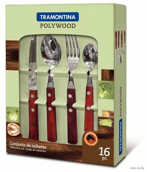 Набор столовых приборов металлических с деревянными ручками (16 предметов, арт. 21199738)