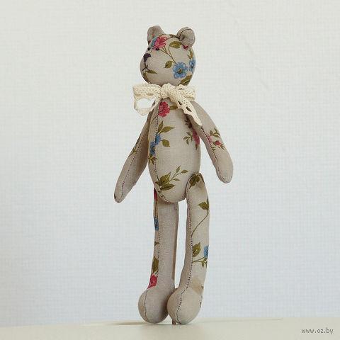 """Кукла ручной работы """"Медвежонок"""" (винтажный серый с цветочками)"""