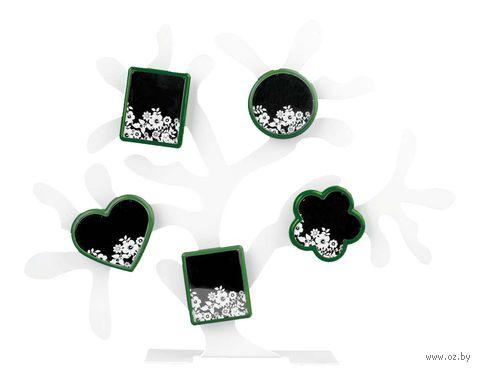Набор. 5 фоторамок на магнитах, на подставке в виде дерева (цвет фоторамок: зеленый)