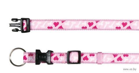 """Ошейник нейлоновый для собак """"Modern Art Collar Rose Hearts"""" (размер XS-S; 22-35 см; розовый)"""