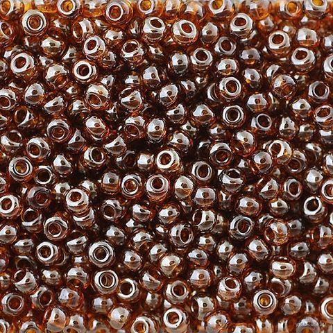 Бисер прозрачный №16110 (темно-янтарный; жемчужный; 10/0) — фото, картинка
