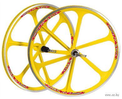 """Комплект велосипедных колёс """"TAFD/CASET-6000"""" (26""""; жёлтый) — фото, картинка"""