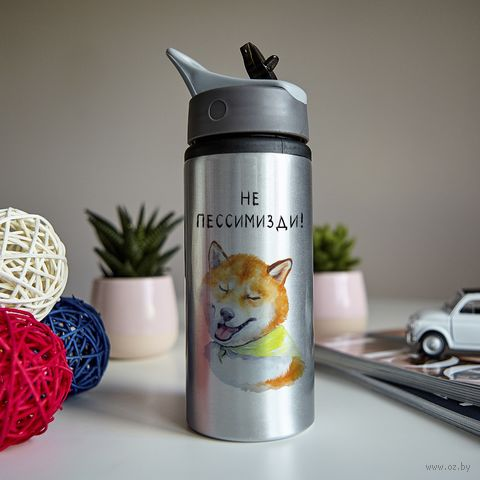 "Бутылка для воды ""Не пессимизди"" (600 мл; металлик) — фото, картинка"