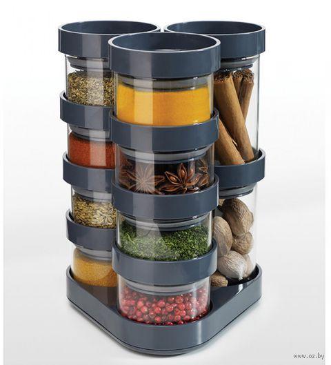 """Набор емкостей для хранения специй """"SpiceStore Carousel"""" (серый)"""