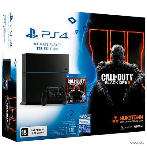 """Игровая консоль Sony PlayStation 4 """"PS4"""" 1 TB Черная РСТ + игра «Call of Duty: Black Ops III»"""