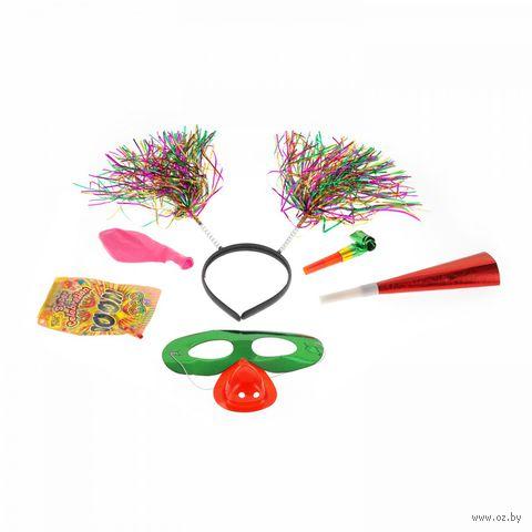 Набор карнавальный (обруч с мишурой, дудка, язычок, шарик, маска клоуна) — фото, картинка
