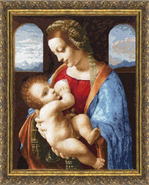 "Вышивка крестом ""Мадонна Литта"" (445х350 мм) — фото, картинка"