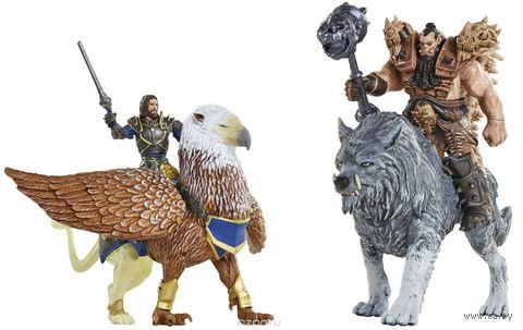 """Набор фигурок """"Warcraft. Battle. Лотар, Грифон, Чернорук, Северный Волк"""" (7 см) — фото, картинка"""
