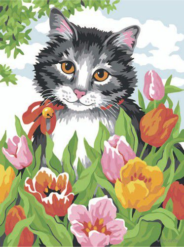 "Картина по номерам ""Котик в цветах"" (300х400 мм)"