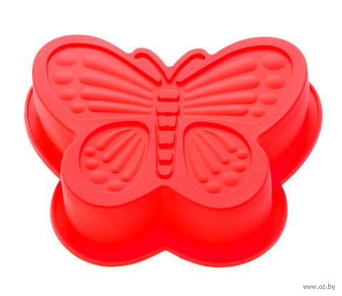 """Форма для выпекания силиконовая """"Бабочка"""" (165х135х35 мм; красный) — фото, картинка"""